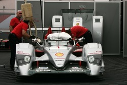 #1 Audi Sport North America Audi R10 TDI Power in the paddock area
