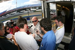 NASCAR NEXTEL Cup Series Director John Darby talks to the media