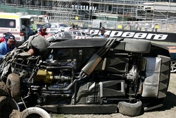 Team Kiwi Racing car after a massive crash