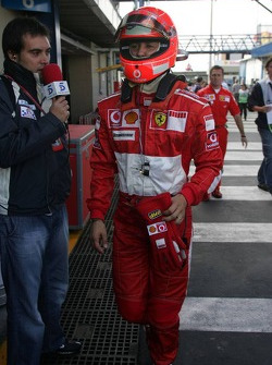 Michael Schumacher after a bad qualifying session