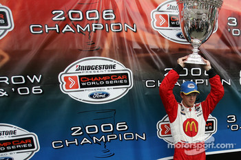 Champ Car World Series 2006 champion Sébastien Bourdais celebrates his third consecutive title