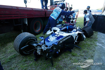 The wrecked car of Nico Rosberg