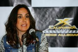 California Speedway President Gillian Zucker, speaks to the media regarding changes to the California Speedway footprint
