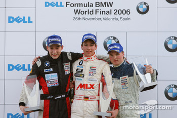 Podium: race winner Christian Vietoris with Josef Kral and Mika Maki