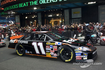 Denny Hamlin in the streets of New York for the Victory Lap