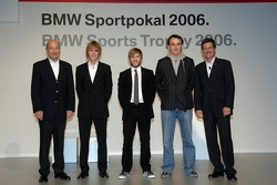Dr Mario Theissen , Peter Sauber with the F1 drivers