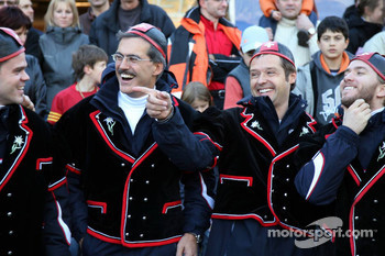 Dr. Mario Theissen, Andy Priaulx and Nick Heidfeld