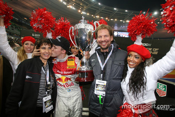 Race of Champions winner Mattias Ekstrm celebrates with Michle Mouton and Fredrik Johnsson