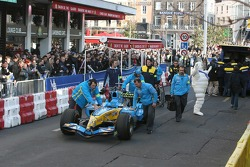 Renault F1 team members get ready for the demo run