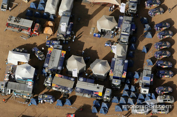 Aerial view of the Volkswagen Motorsport bivouac at Atar