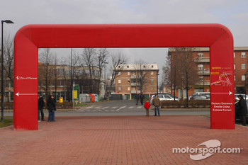 Signs for entrance to Fiorano circuit and Ferrari factory