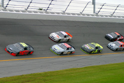 Jeff Gordon leads a group of cars