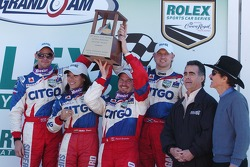 DP Podium: Second place Milka Duno, Patrick Carpentier, Darren Manning, Ryan Dalziel