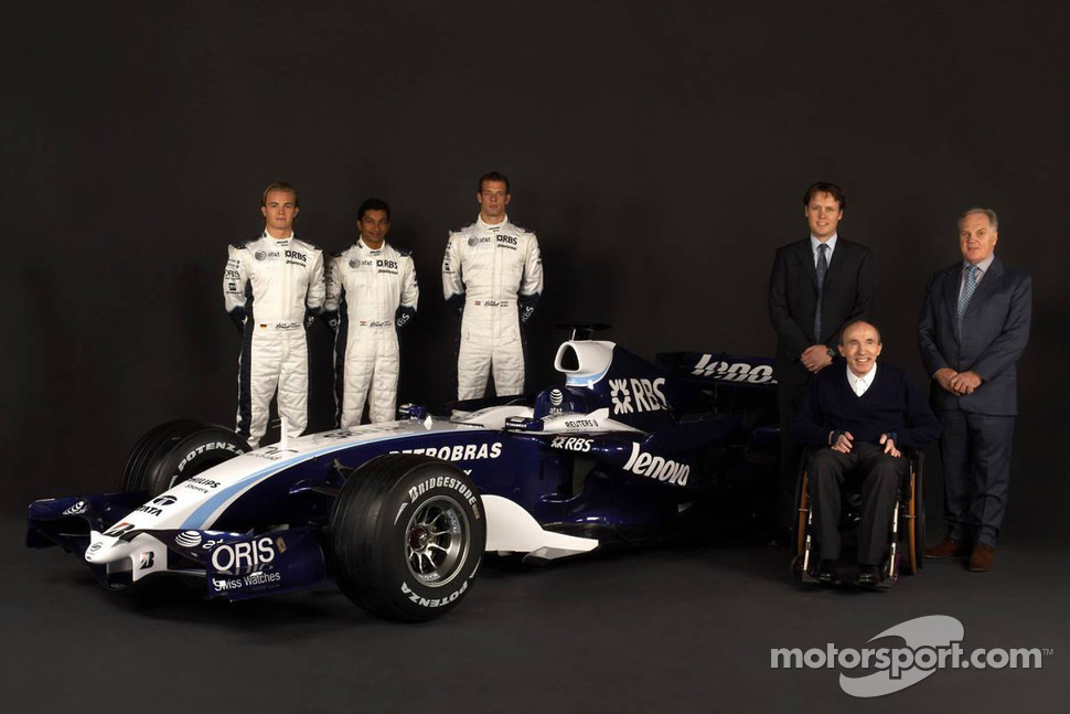 Nico Rosberg, Narain Karthikeyan, Alexander Wurz, Sam Michael, WilliamsF1 Team, Technical director, Sir Frank Williams, WilliamsF1 Team, Team Chief, Managing Director, Team Principal and Patrick Head, WilliamsF1 Team, Director of Engineering pose with the