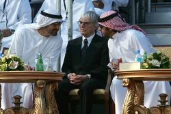 His Highness Sheikh Mohammed Bin Zayed Al Nahayan with Bernie Ecclestone and Sheikh Hamadan Bin Mohammed Bin Rashid Al Maktoum