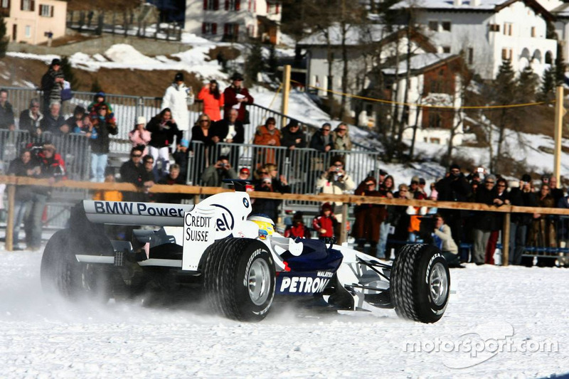 Nick Heidfeld drives a BMW Sauber F1 on the St Moritz horse racing on special spike tyres from Bridgestone