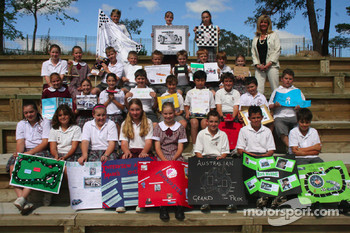 Webba Mania in Australia: year 5 and 6 students at Mark Webber's alma mater, Queanbeyan Public School, pay homage to their hero