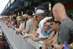 Fans watch their favorite drivers in the new multimillion-dollar expansion, Neon Garage at the Las Vegas Motor Speedway