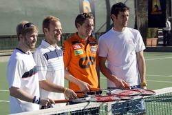 Formula One drivers charity tennis match: Nick Heidfeld, BMW Sauber F1 Team, Rubens Barrichello, Honda F1 Team, Christijan Albers, Spyker F1 Team, Mark Webber, Red Bull Racing