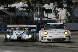 #16 Dyson Racing Team Porsche RS Spyder: Butch Leitzinger, Andy Wallace, Andy Lally, #85 FarnbacherLoles Motorsports Porsche 911 GT3 RSR: Pierre Ehret, Lars Erik Nielsen, Dirk Werner