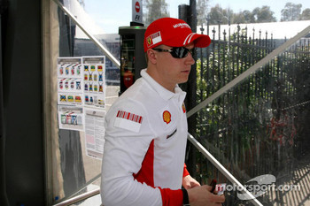 Kimi Raikkonen, Scuderia Ferrari, arrives at the circuit