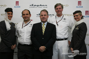 Colin Kolles, Spyker F1 Team, Team Principal, Ronald Barrott, CEO of Aldar, Victor Muller, Chief Executive Officer of Spyker Cars N.V. and Spyker F1 Team, Spyker F1 Team, Announce new title sponsor, Etihad Airways and Aldar