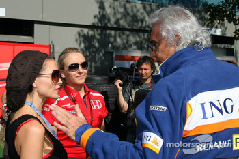 Dannii Minogue and Flavio Briatore, Renault F1 Team, Team Chief, Managing Director