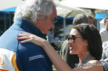Flavio Briatore, Renault F1 Team, Team Chief, Managing Director and Dannii Minogue Australian pop-singer