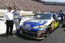 NASCAR legend and former Chevrolet Impala race driver Junior Johnson and current NASCAR Nextel Cup Champion Jimmie Johnson pose