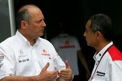 Ron Dennis, McLaren, Team Principal, Chairman and Hiroshi Yasukawa, Bridgestone