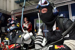 Red Bull Racing pit crew in the garage