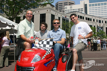 WIBC Toro lawn mower race event: Ed Carpenter with fans