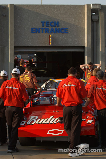 Dale Earnhardt Jr.'s car heads into the inspection bay