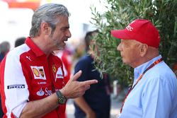 Niki Lauda, Mercedes Non-Executive Chairman with Maurizio Arrivabene, Ferrari Team Principal
