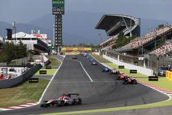 Esteban Ocon, ART Grand Prix leads Luca Ghiotto, Trident and Emil Bernstorff, Arden International