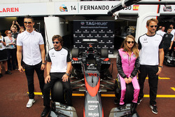 (L to R): Cristiano Ronaldo, Real Madrid Football Player with Fernando Alonso, McLaren; Cara Delevingne, Model; and Jenson Button, McLaren