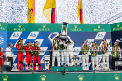 LMP1 podium: class and overall winners Porsche Team: Nico Hulkenberg, Nick Tandy, Earl Bamber, second place Porsche Team: Timo Bernhard, Mark Webber, Brendon Hartley, third place Audi Sport Team Joest Audi R18 e-tron quattro: Marcel Fässler, Andre Lottere