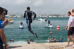 Julien Ingrassia jumps in the marina