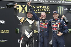 Podium: second place Petter Solberg, SDRX Citroën DS3 and winner Davy Jeanney and third place Timmy Hansen, Team Peugeot Hansen