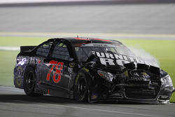 Martin Truex Jr., Furniture Row Racing Chevrolet crashes