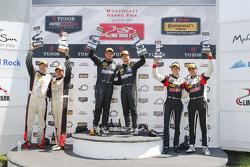 ST Podium: Race winners #5 CJ Wilson Racing Mazda MX-5: Stevan McAleer, Chad McCumbee, #56 Murillo Racing Porsche Cayman: Jeff Mosing, Eric Foss and #17 RS1 Porsche Cayman: Spencer Pumpelly, Luis Rodriguez Jr.