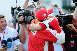 Race winner Sebastian Vettel, Ferrari celebrates with Maurizio Arrivabene, Ferrari Team Principal