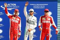 Polesitter Lewis Hamilton, Mercedes AMG F1 Team, second place Kimi Raikkonen, Ferrari, third place Sebastian Vettel, Ferrari
