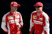 Second place Kimi Raikkonen, Ferrari and third place Sebastian Vettel, Ferrari
