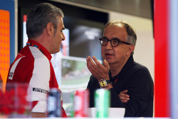 Maurizio Arrivabene, Ferrari Team Principal with Sergio Marchionne, Ferrari President and CEO of Fiat Chrysler Automobiles