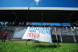 A banner for Bernie Ecclestone