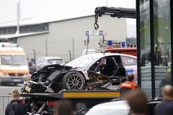 The car of Lucas Auer, ART Grand Prix Mercedes-AMG C63 DTM after the crash