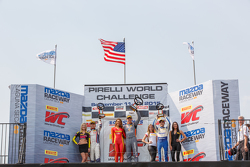 GT Cup podium: Race winner #11 Kelly-Moss Motorsports Porsche 911 GT3 Cup: Colin Thompson, Second place #02 TruSpeed Autosport Porsche 911 GT3 Cup: Sloan Urry and third place #17 Global Motorsports Group Porsche 911 GT3 Cup: Alec Udell