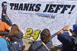 Fans sign memoribilia for the retiring Jeff Gordon, Hendrick Motorsports