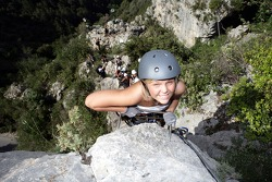 Formula Unas girls in a mountain climbing expedition: Rebecca Blomgren